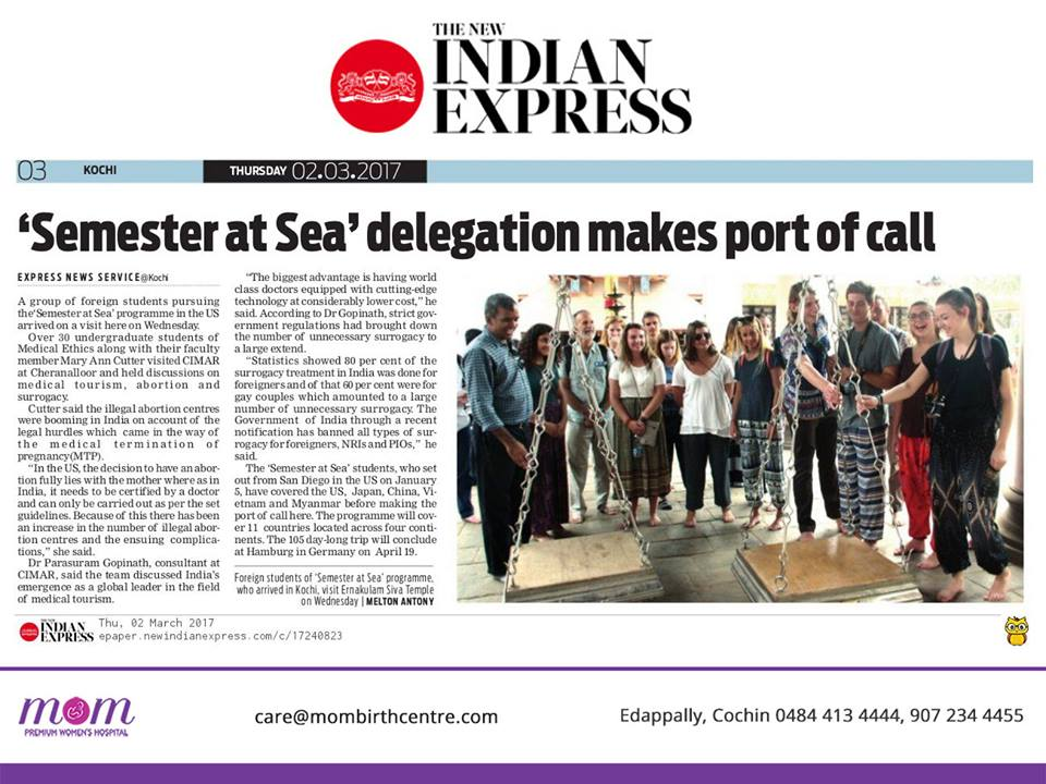 Indian Express Semester at Sea CIMAR MOM